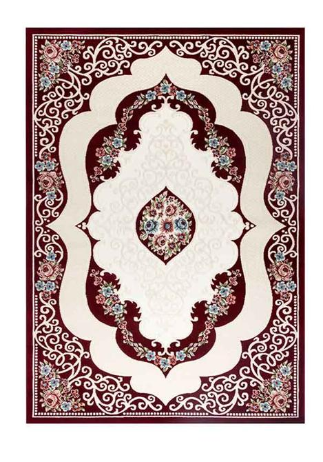 204907-Bordeaux-Beige Flower Patterned Carpet-Ugurser Hali Tekstil San. Ve Tic. A.S.