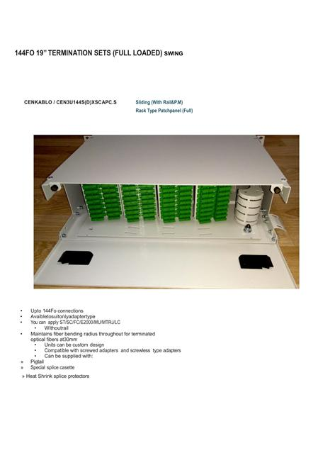 205136-144 Port Fiber Optic Termination Box 3U 19 INCH-Cen Kablo San. ve Tic. AS.